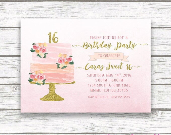 Sweet 16 Birthday Invitation, Watercolor Cake Topper Pink Gold Boho Floral Invite, Peach Pink Gold Glitter, Striped Back, Printed Printable
