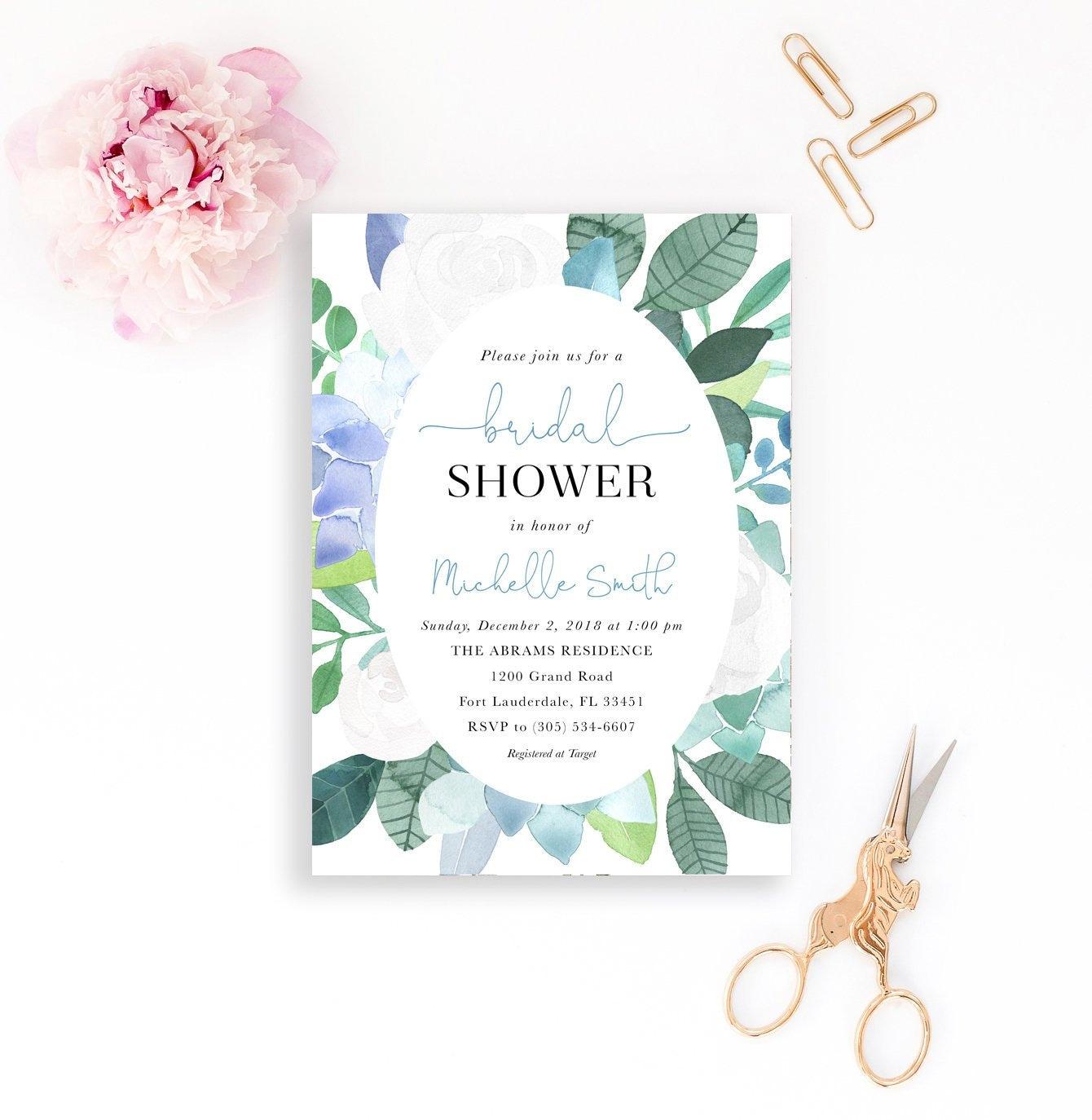blue bridal shower invitation succulent bridal shower invitation succulent bridal shower invite floral bridal shower printable invite