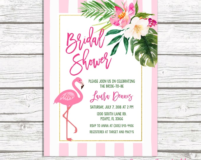 Flamingo Bridal Shower Invitation, Flamingo Invitation, Tropical Bridal Shower Invitation, Flamingle Bridal Shower Invitation, Pink Green