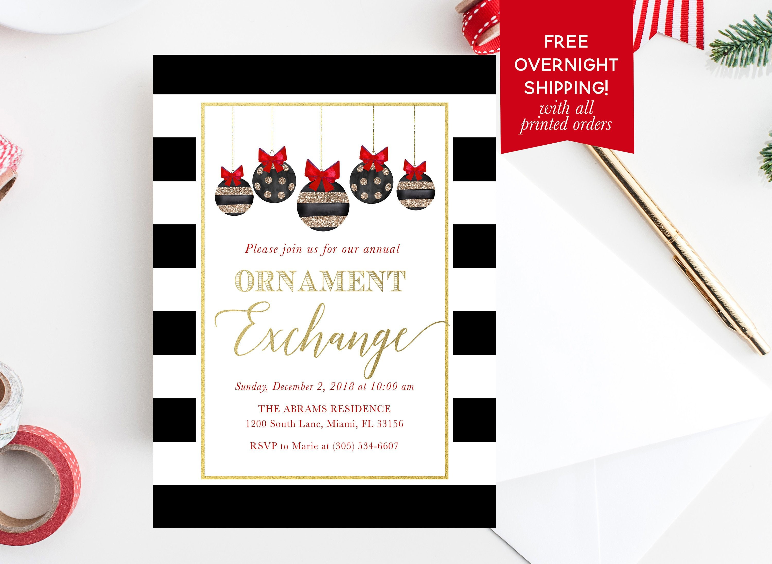 ornament exchange party invitation ornament exchange invitation