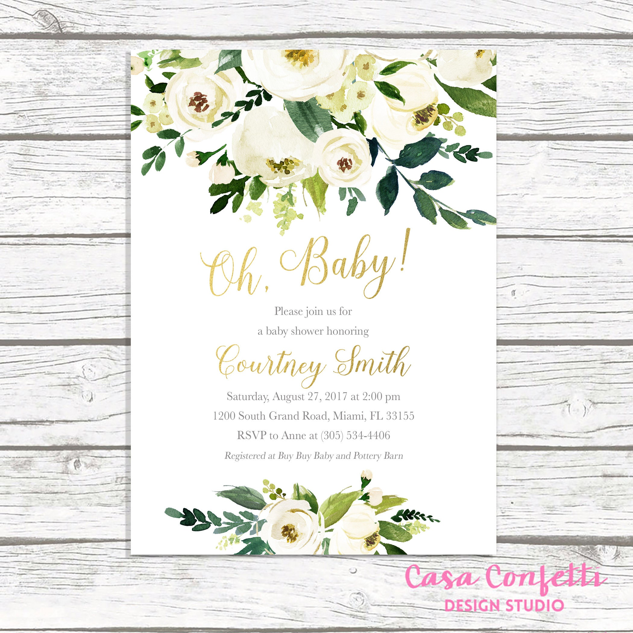 Oh Baby Baby Shower Brunch Invitation Gender Neutral Baby