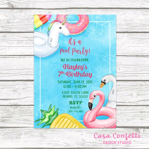pool party invitation pool birthday invitation pool float etsy