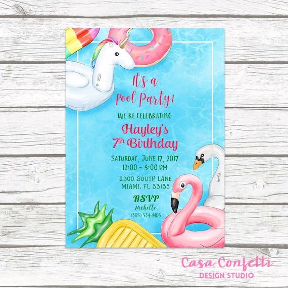 pool party invitation pool birthday invitation pool float etsy