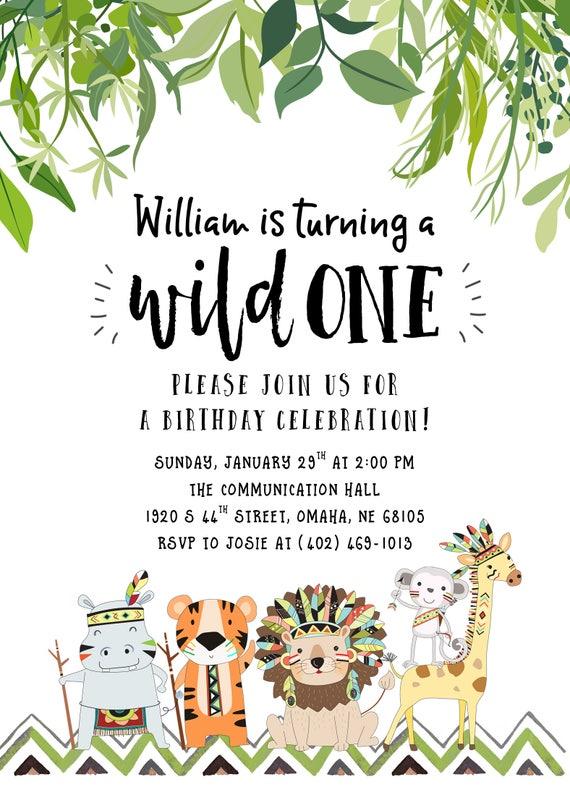 wild one birthday invitation safari birthday invitation etsy