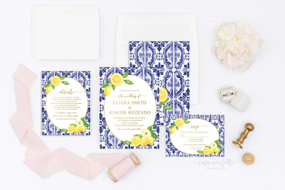 Overnight Wedding Invitations: Lemon Wedding Invitation, Italian Wedding Invitation, Blue