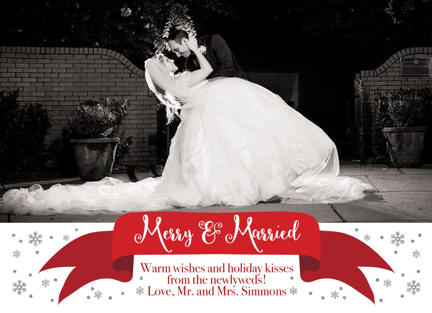 Merry and Married Christmas Holiday Photo Card, Silver Glitter ...