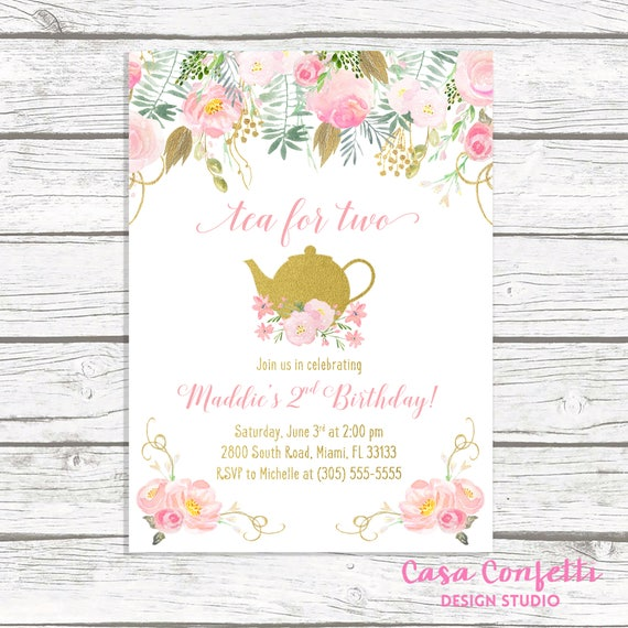 Tea For Two Party Birthday Invitation Pink And Gold Girl First