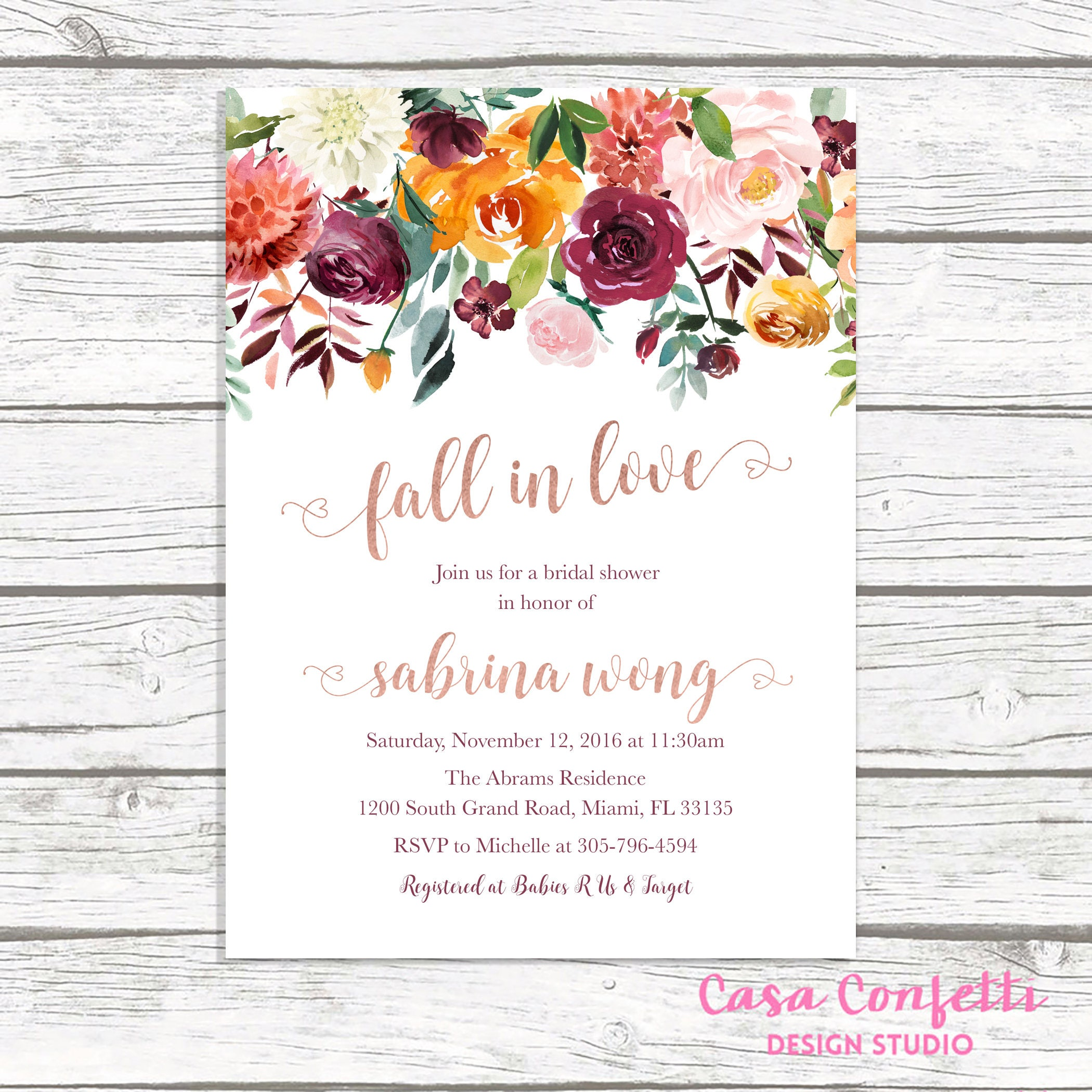 fall in love bridal shower invitation rose gold bridal shower invitation burgundy bridal shower invitation fall bridal shower invite