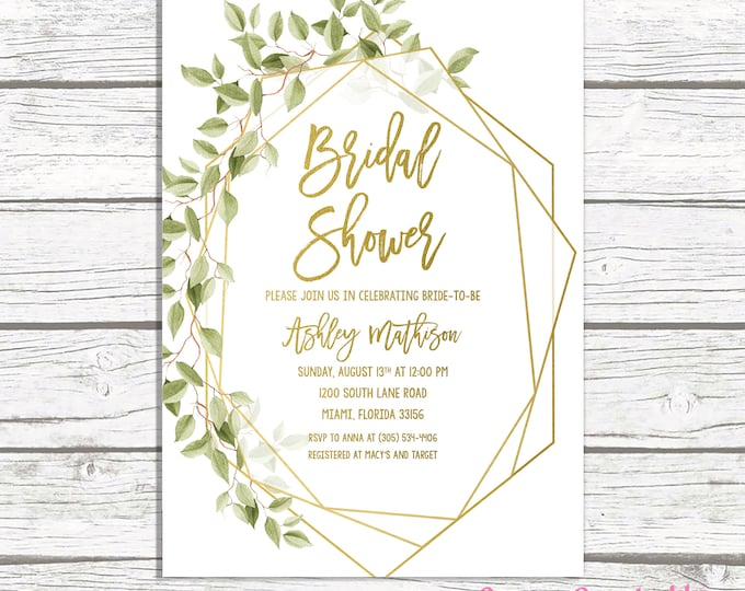 Bridal Shower Invitation, Geometric Frame Invitation, Green Bridal Shower, Bridal Brunch, Gold Bridal Shower, Leaf Bridal Shower Invite