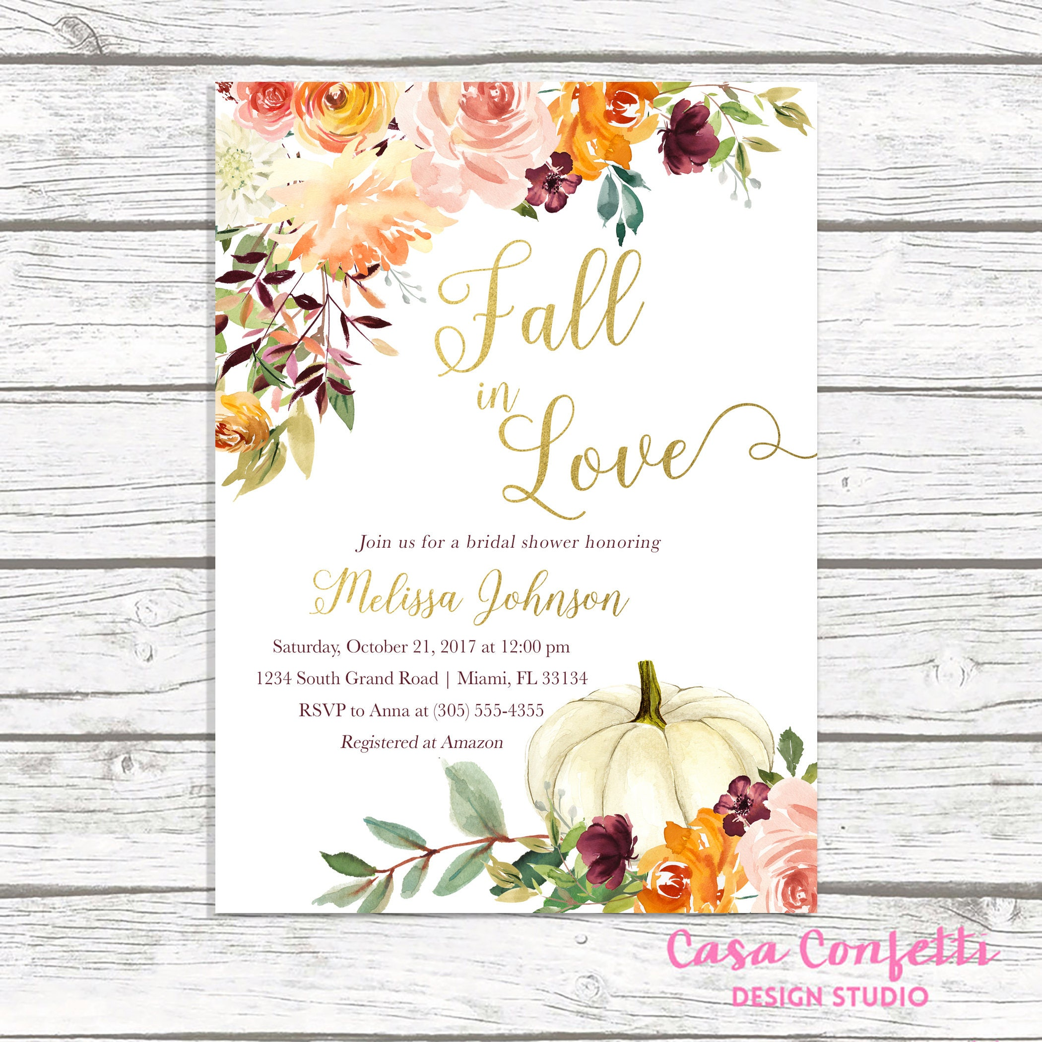 fall in love bridal shower invitation fall bridal shower invitation pumpkin bridal shower invitation falling in love bridal shower invite