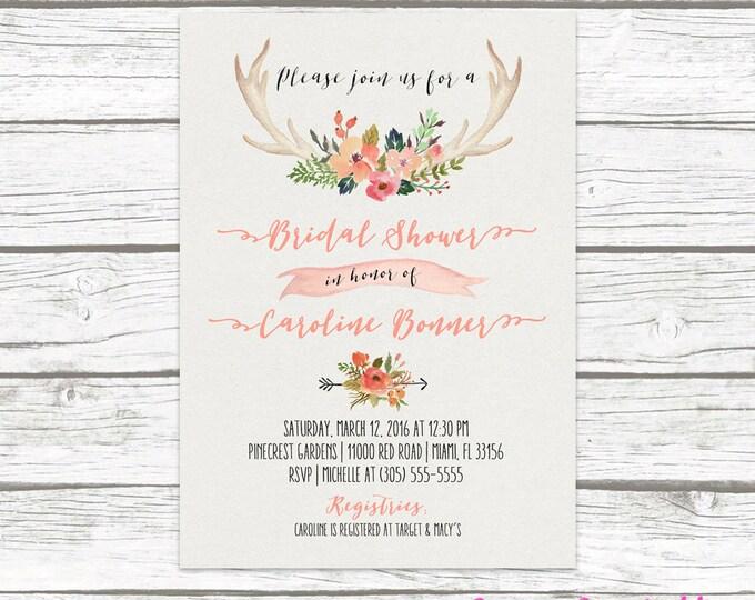 Antler Bridal Shower Invitation, Boho Bridal Shower Invitation, Floral Antler Bridal Shower Invite, Rustic Antler Bridal Shower Printable