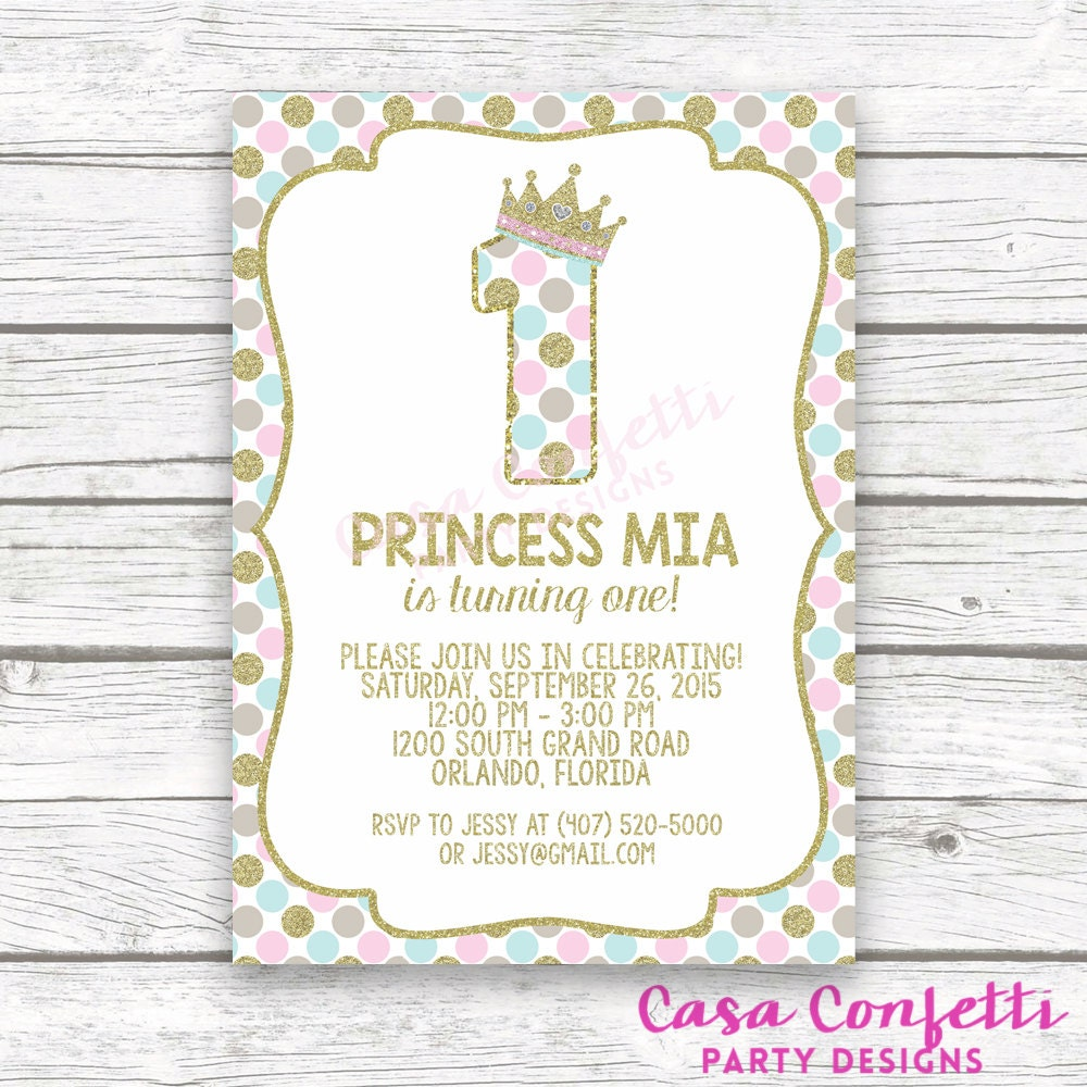 Princess First Birthday Invitation 1st Pink And Gold Girl
