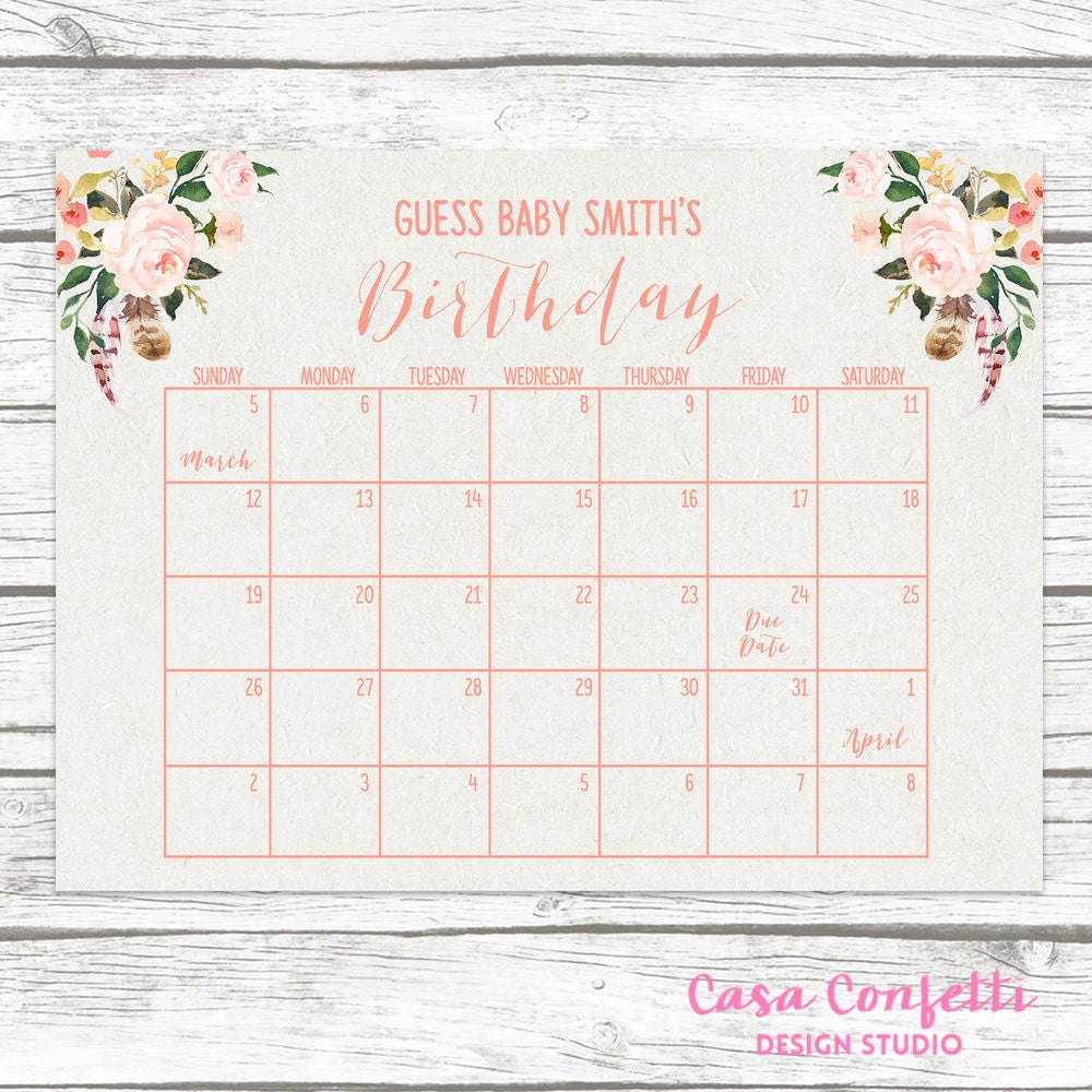 image regarding Free Printable Due Date Calendar referred to as Youngster Shower Wager The Owing Day And Excess weight No cost Printable
