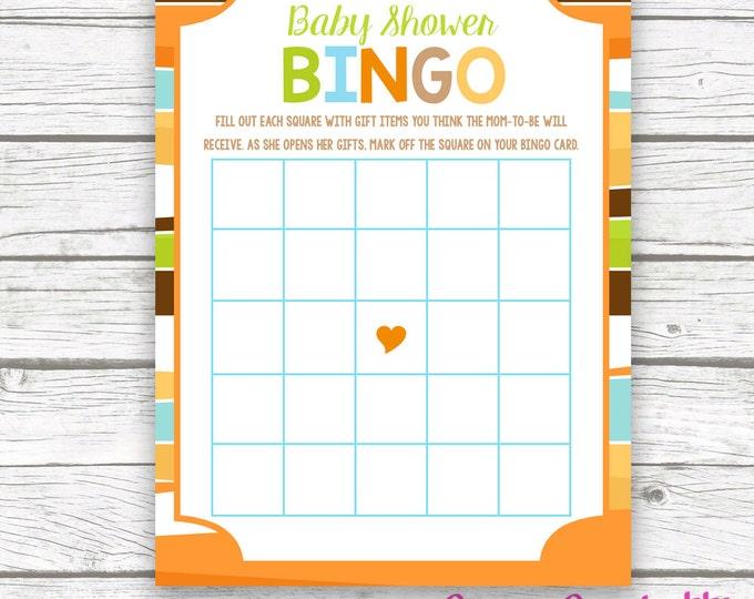 Safari Baby Shower Bingo Game Printable Card, Jungle Animal Baby Shower Bingo, Printable Games for Baby Shower, Baby Boy Shower