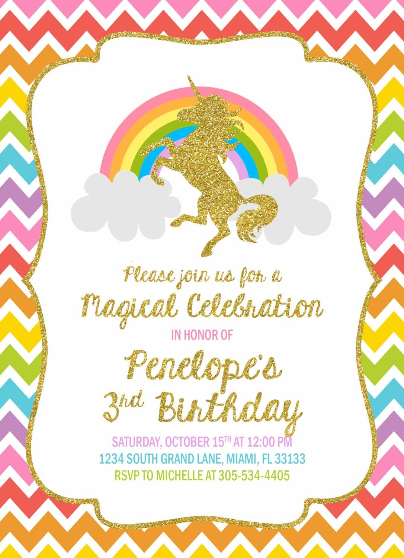 Unicorn Invitation Unicorn Birthday Invitation Rainbow