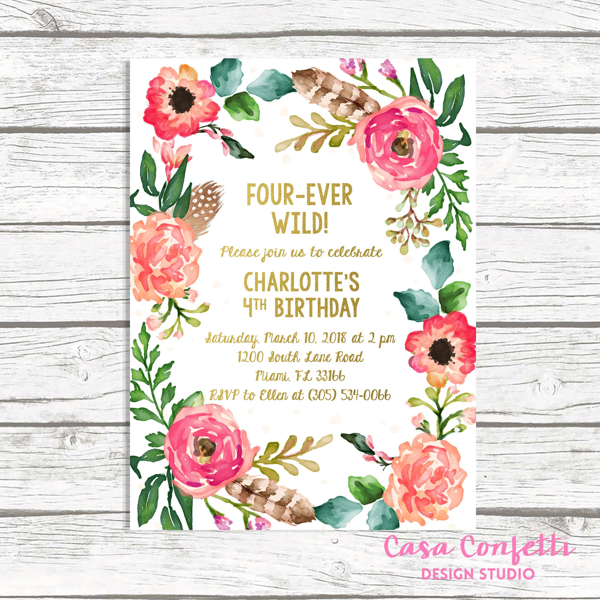 Fourever Wild Birthday Invitation Four Ever Boho