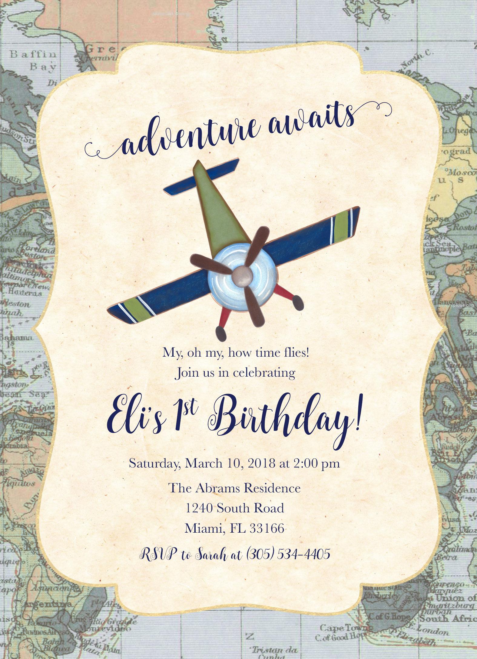 Airplane Birthday Invitation, Adventure Birthday Invitation, Time ...