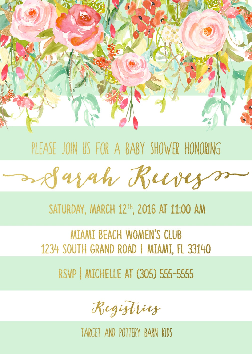 Floral baby shower invitation girl boho baby shower invite spring floral baby shower invitation girl boho baby shower invite spring baby shower invitation mint green and gold baby shower printable filmwisefo