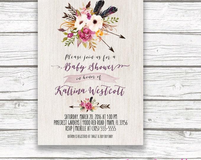 Boho Arrow Baby Shower Invitation, Tribal Watercolor Floral Flower Invite, Purple Neutral Aztec Southwestern Bohemian, Printed Printable