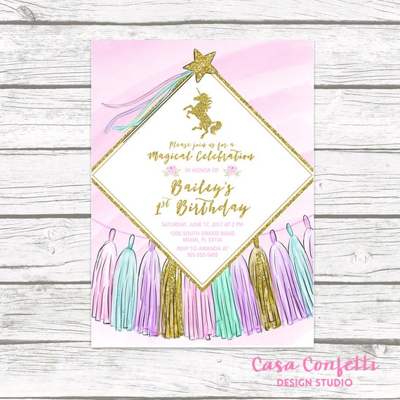 Unicorn Invitation Birthday Girl 1st First