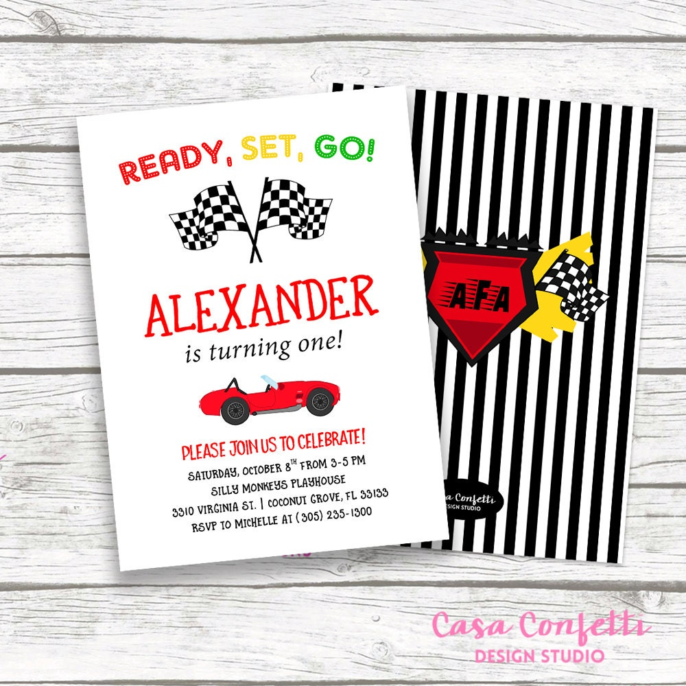 Race Car Birthday Invitation, Car Invitation, Racing Invitation ...
