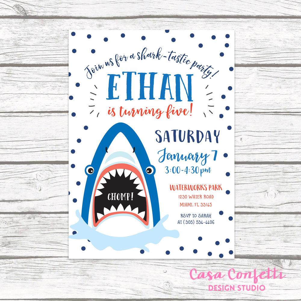 Shark Invitation, Shark Birthday Invitation, Shark Birthday Party ...