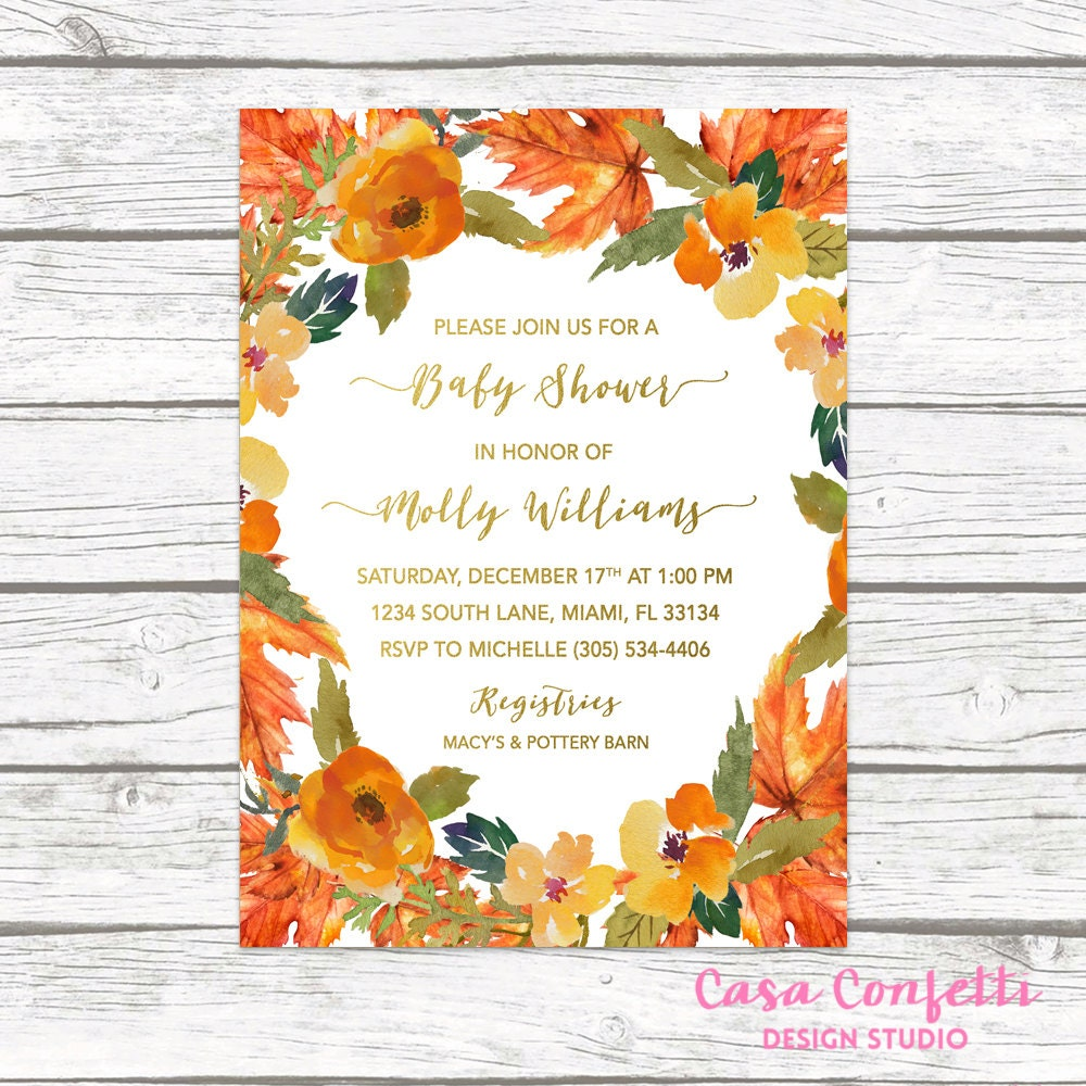 Fall Baby Shower Invitation Fall Leaves Baby Shower Invitation