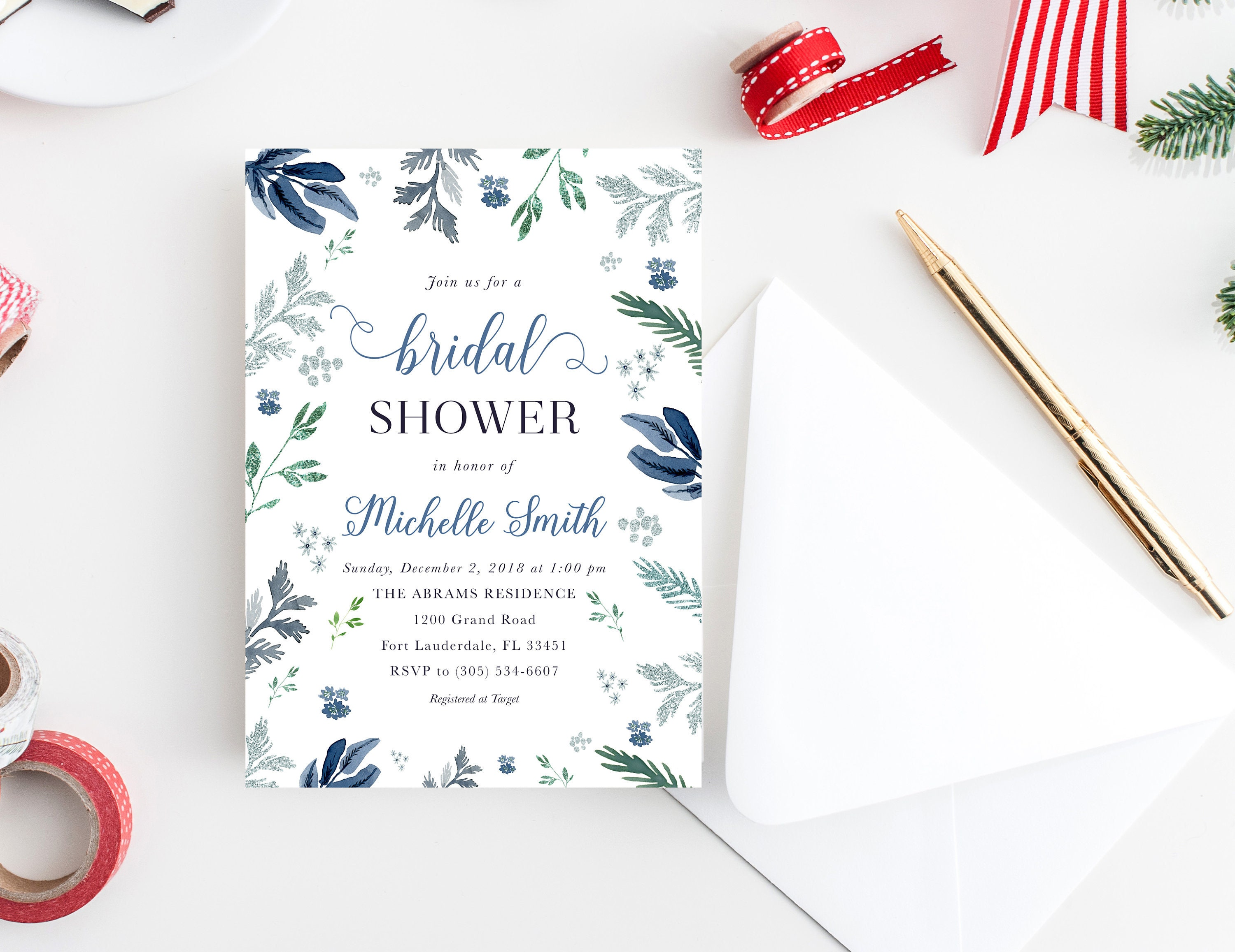 winter bridal shower invitation winter wonderland invitation wonderland bridal shower blue christmas bridal shower silver glitter wedding