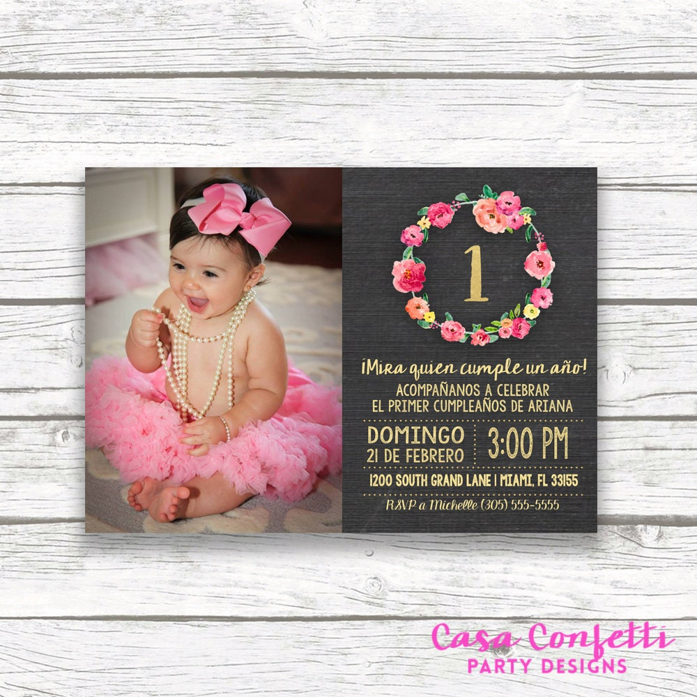 Spanish Chalkboard Gold Foil Pink First 1st Birthday Photo Invitation