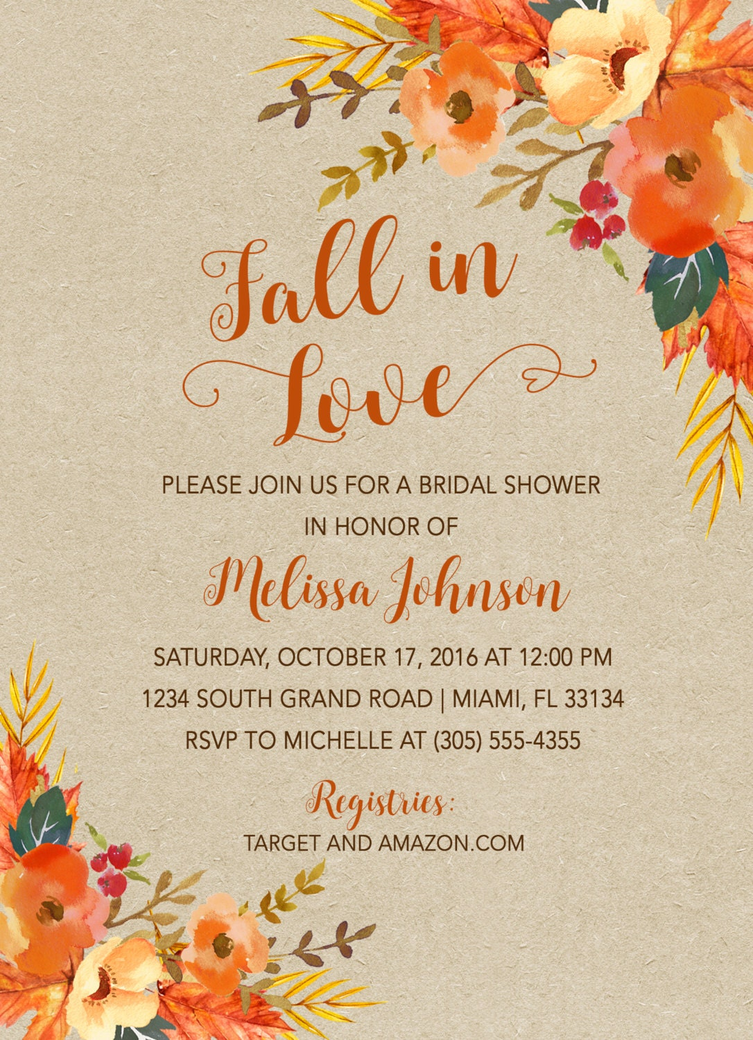 fall in love bridal shower invitation fall leaves bridal shower invitation falling in love fall bridal shower invitation fall floral