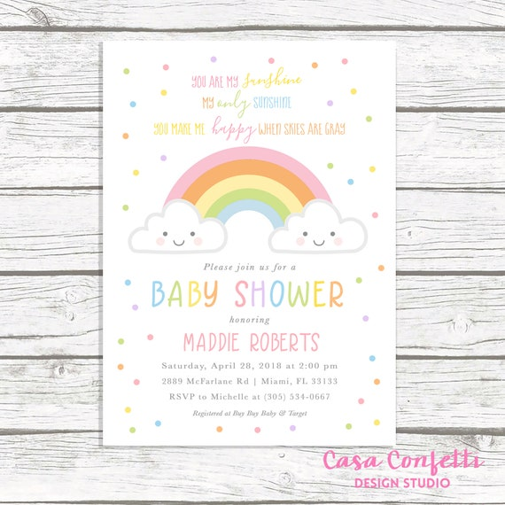 image relating to You Are My Sunshine Free Printable titled Your self Are My Sunlight Boy or girl Shower Invitation, Rainbow Youngster Shower Invitation, Cloud Child Shower Invitation, Little one Shower Invite, Printable