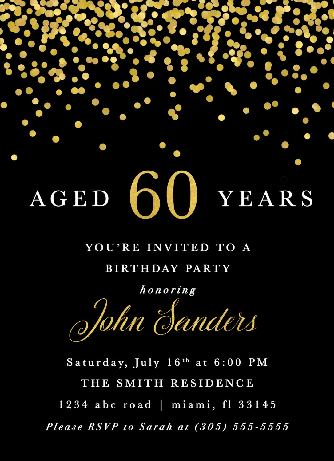 Adult Male Birthday Invitation Black And Gold 60th 50th Aged To Perfection