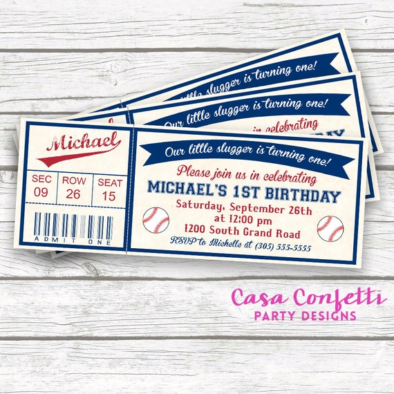 Baseball Birthday Invitation Ticket First Printable Invite