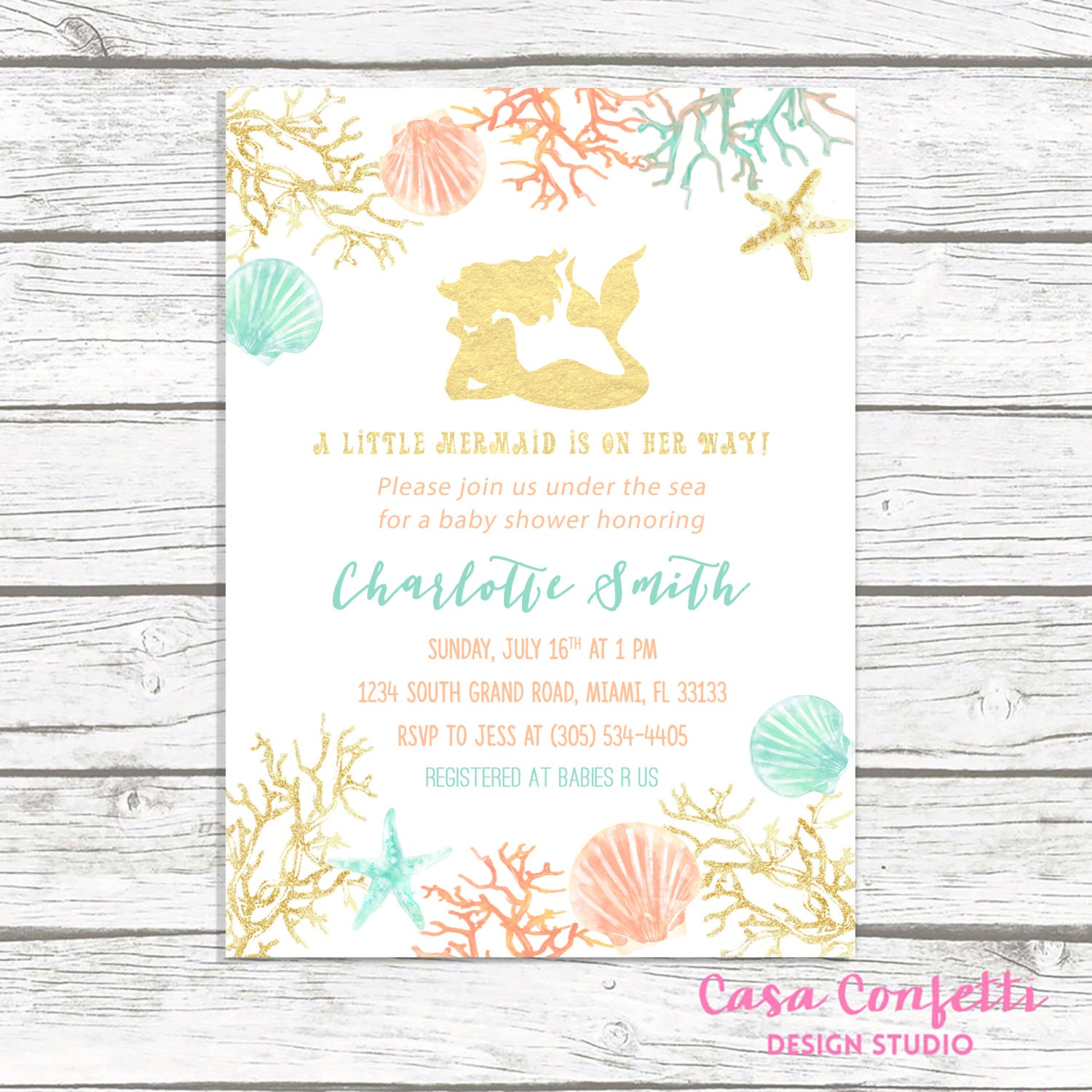 picture about Printable Mermaid Baby Shower Invitations known as Mermaid Youngster Shower Invitation, Below the Sea Boy or girl Shower
