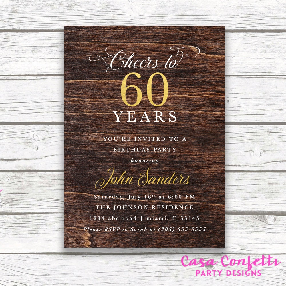 Cigar Man Birthday Printed Printable Invite Gallery Photo