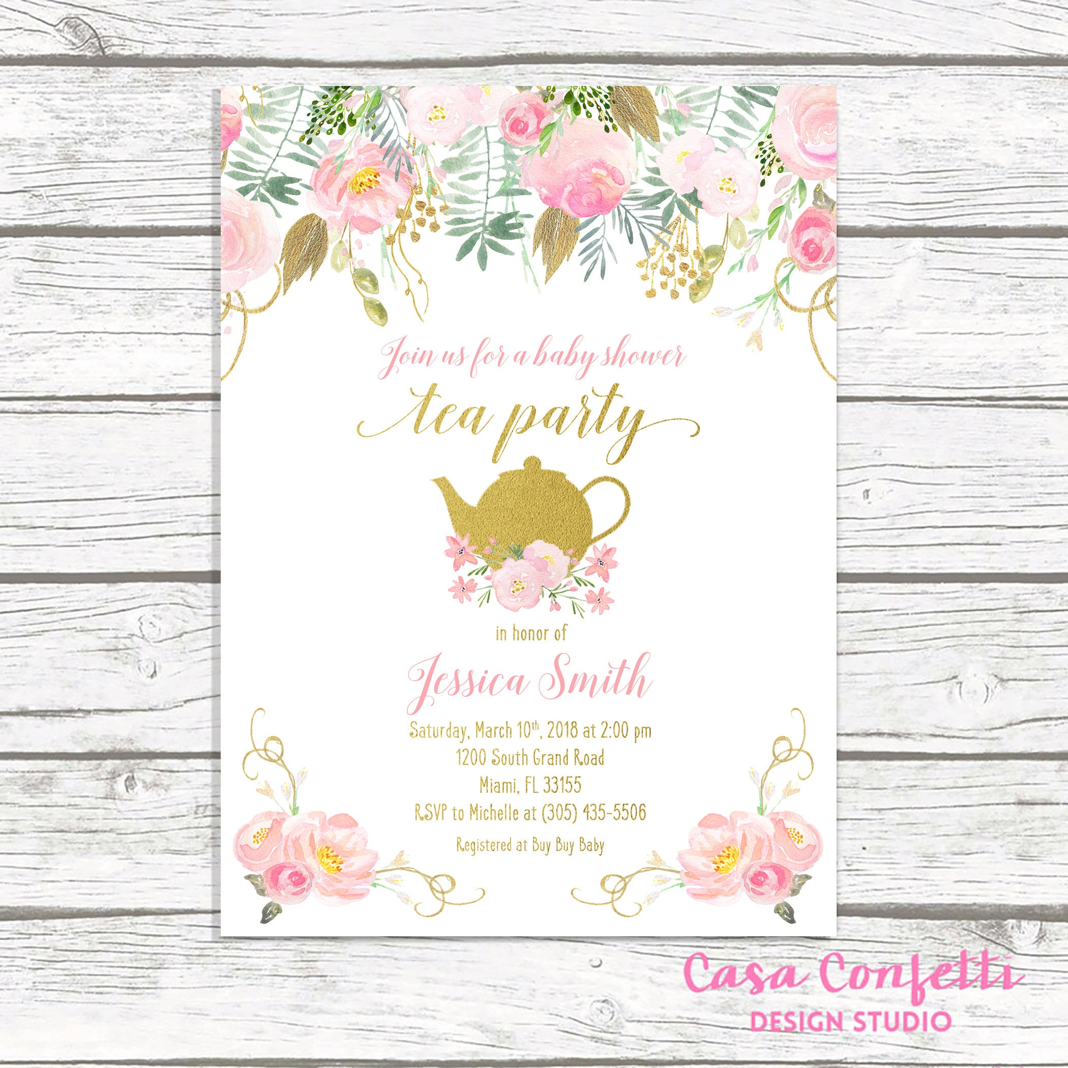 Tea Party Baby Shower Invitation, Tea Party Invitation, Baby Shower ...