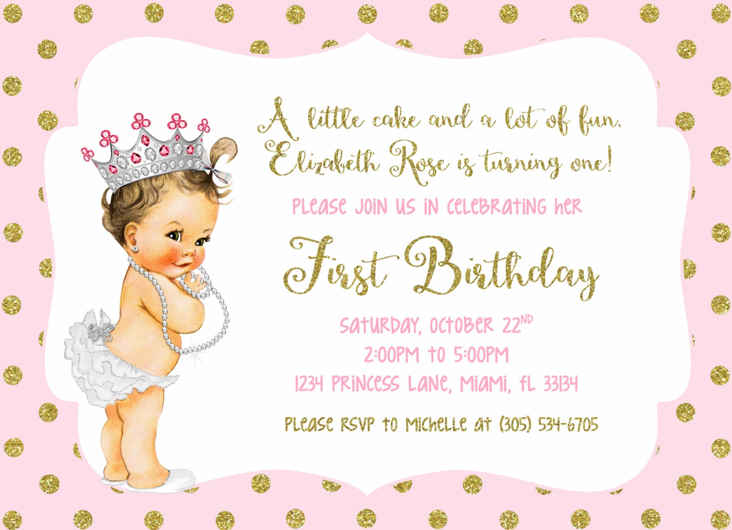 Pink And Gold Glitter Princess First Birthday Party Invitation 1st