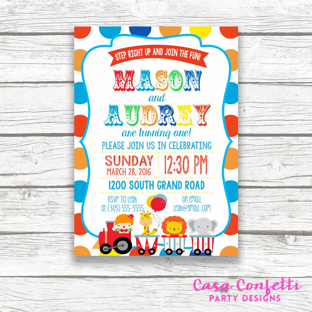 Twin circus birthday party invitation boy girl twins polka dot twin circus birthday party invitation boy girl twins polka dot carnival birthday invitation first 1st birthday printable invitation filmwisefo