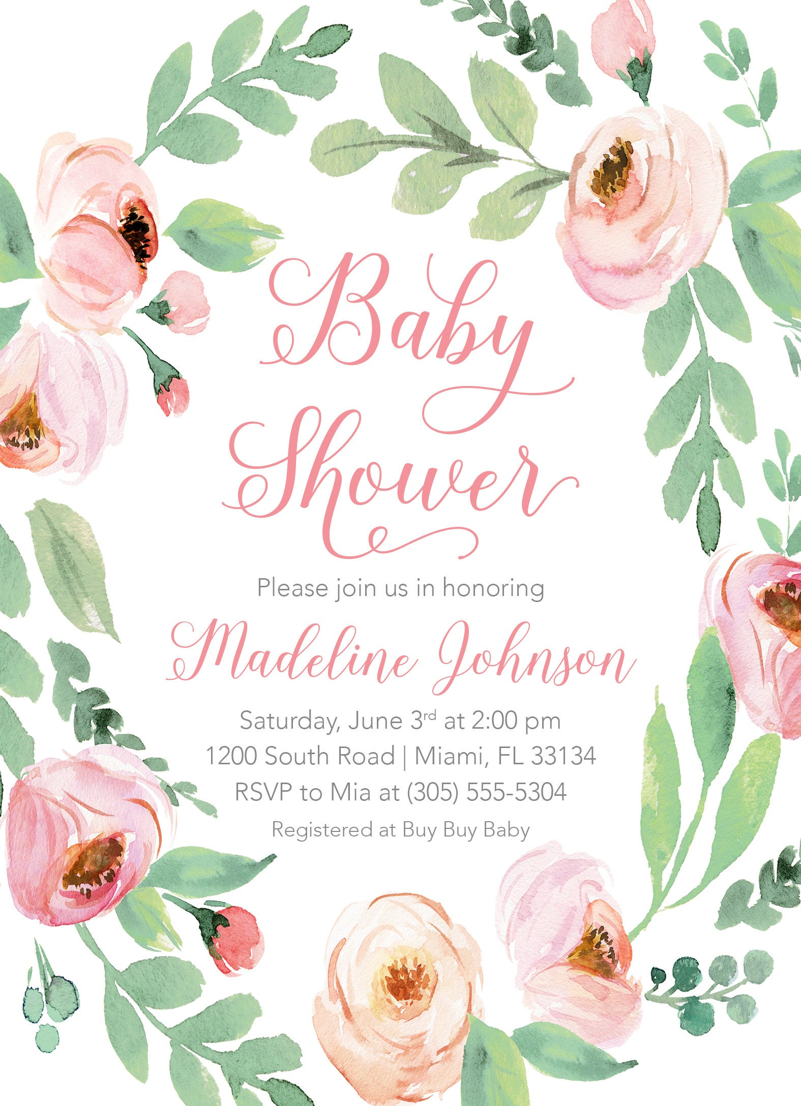Baby shower invitation pink floral baby shower invitation garden baby shower invitation pink floral baby shower invitation garden baby shower invite rustic baby shower girl baby shower invitation filmwisefo