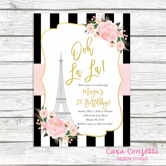 Paris birthday invitation eiffel tower invitation french etsy image 0 filmwisefo
