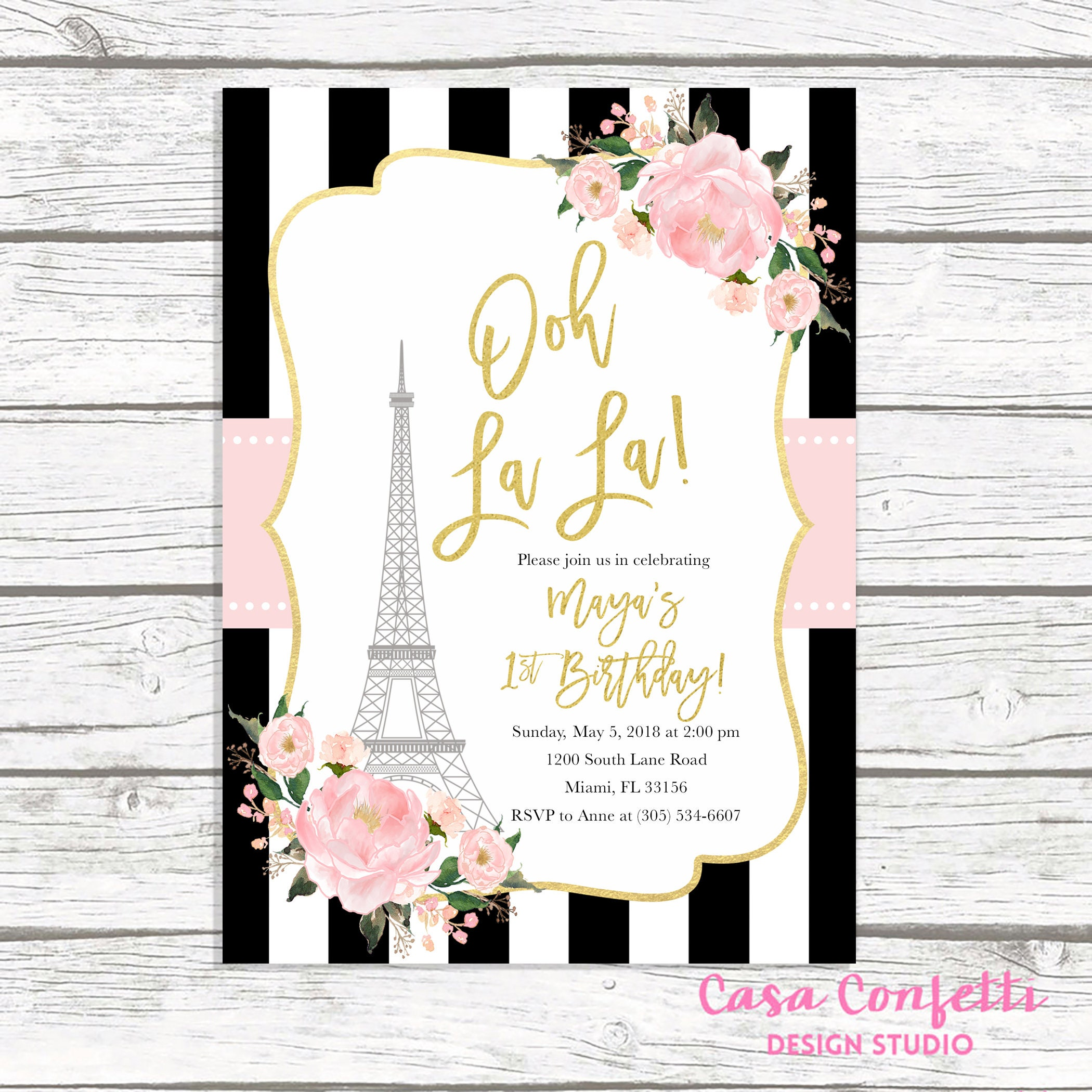 Paris Birthday Invitation, Eiffel Tower Invitation, French Parisian ...