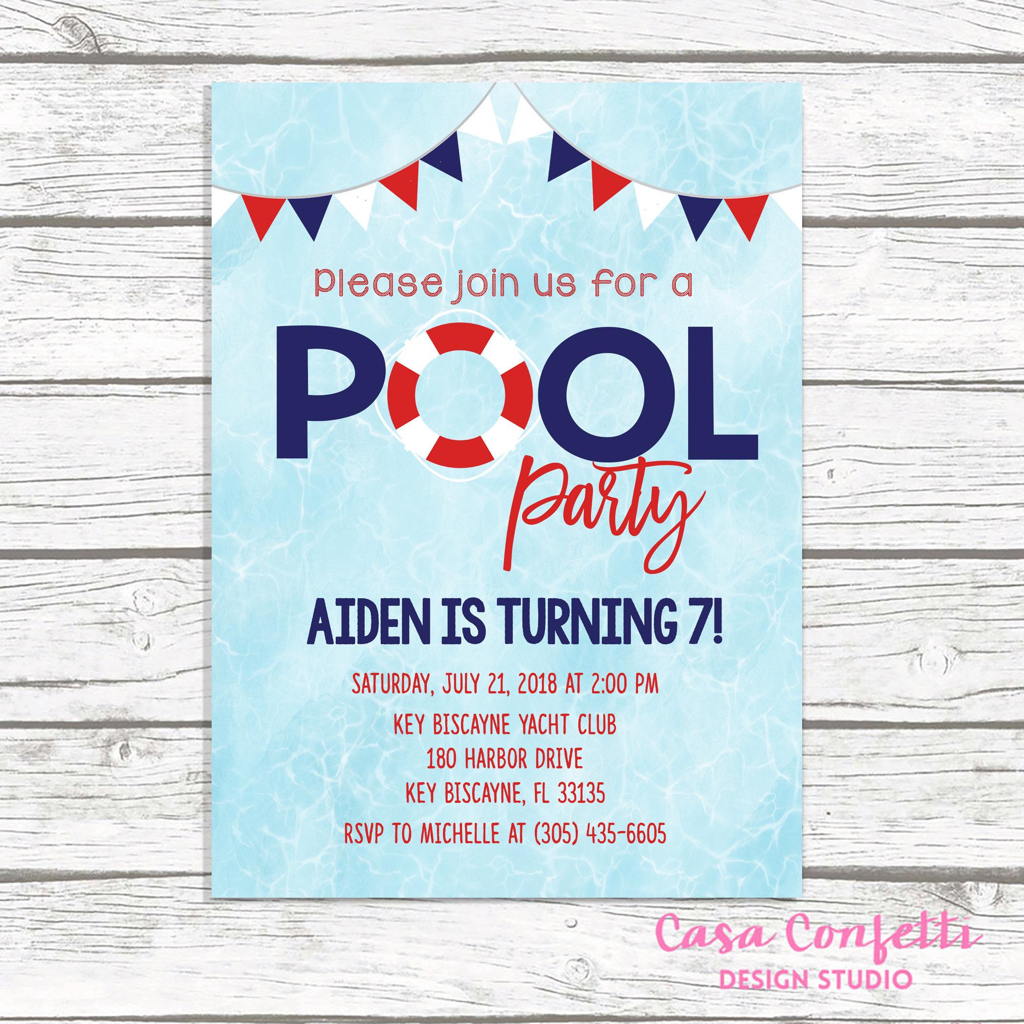 Birthday Invitation Summer Party Preppy Pool Invite Gallery Photo