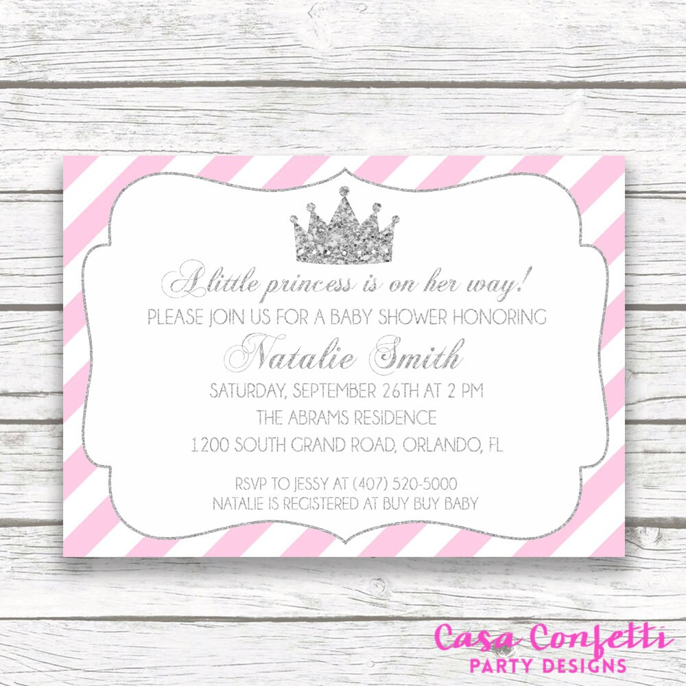 Pink and silver princess baby shower invitation pink white stripe pink and silver princess baby shower invitation pink white stripe silver glitter baby girl princess tiara invite printed or printable filmwisefo
