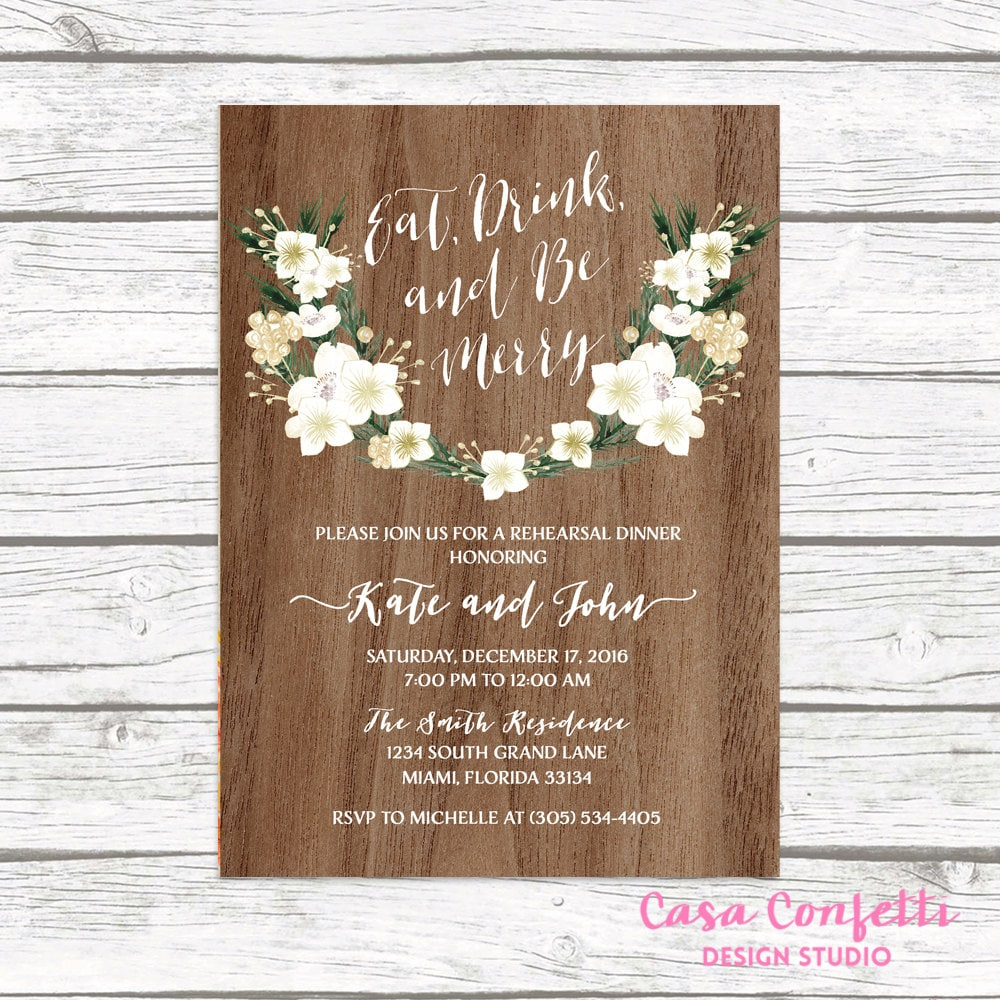 rustic rehearsal dinner invitation eat drink and be merry rehearsal