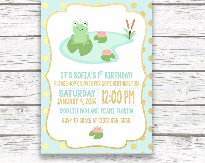 Frog Birthday Invitation, Frog First Birthday Invitation, Lily Pad Invitation, Birthday Invitation Girl, Printable Birthday Invite