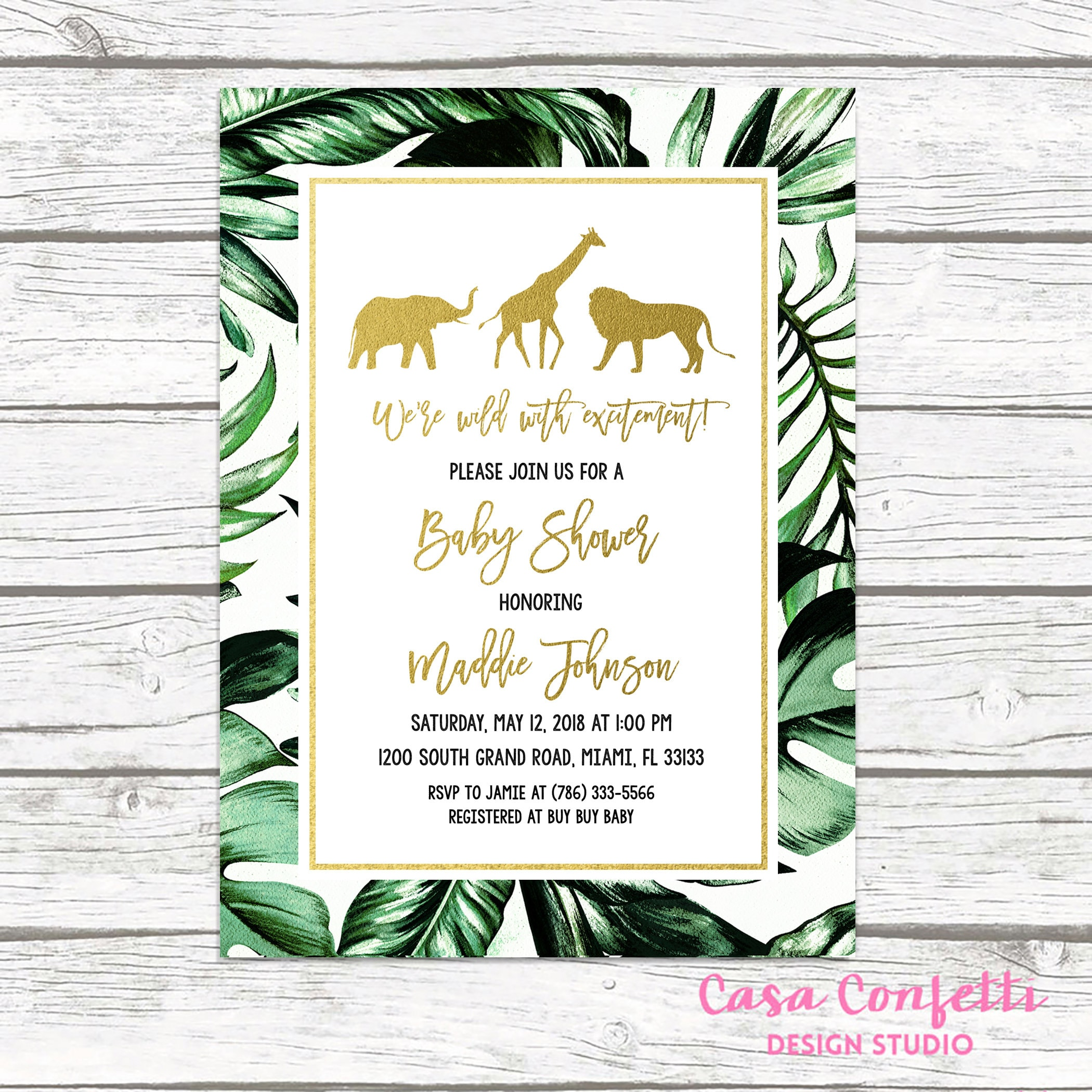 Safari Baby Shower Invitation, Gold Safari Baby Shower