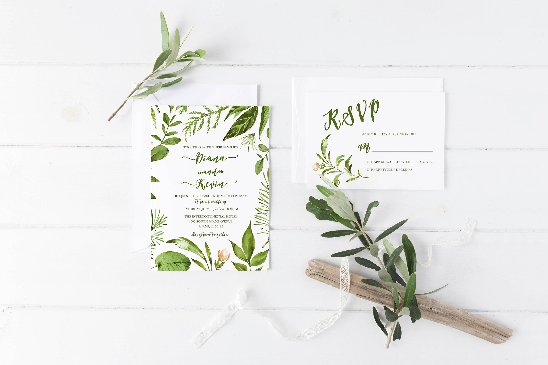 Leaf Wedding Invitation, Green Wedding Invitation, Leaf Invitation ...