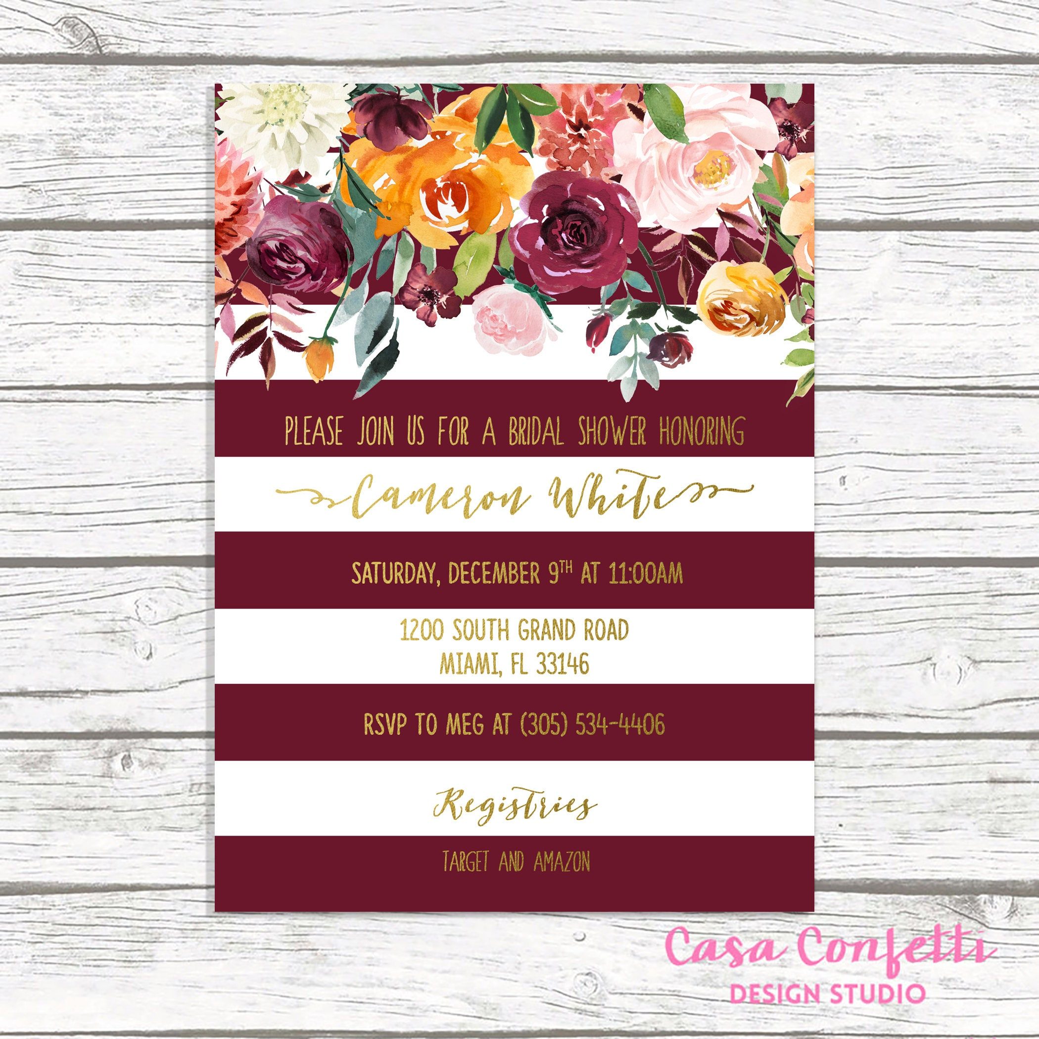 Burgundy Bridal Shower Invitation Marsala Bridal Shower | Etsy