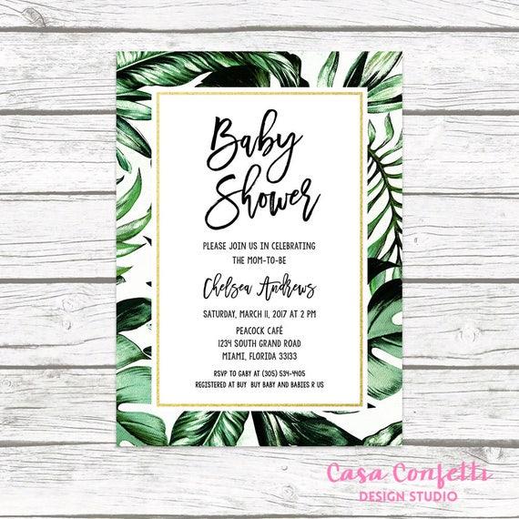 Tropical Baby Shower Invitation Tropical Invitation Palm Tree Leaf