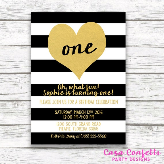 Black And White Striped Gold Foil Heart First Birthday Invitation Girl One 1st Printed Printable Invite With Back